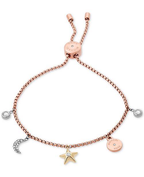 ... Michael Kors Tri-Tone Stainless Steel Crystal Celestial Charms Slider  Bracelet ... 6b74ea35ffa