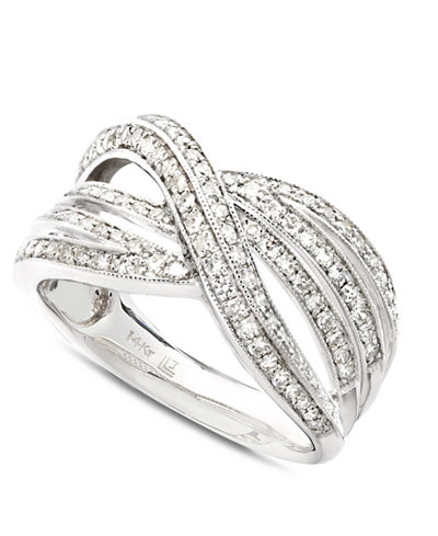 Diamond Crossover Ring in 14k White Gold (1/2 ct. t.w.)