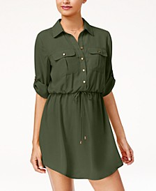 Juniors' Roll-Tab Shirt Dress with Utility Pockets