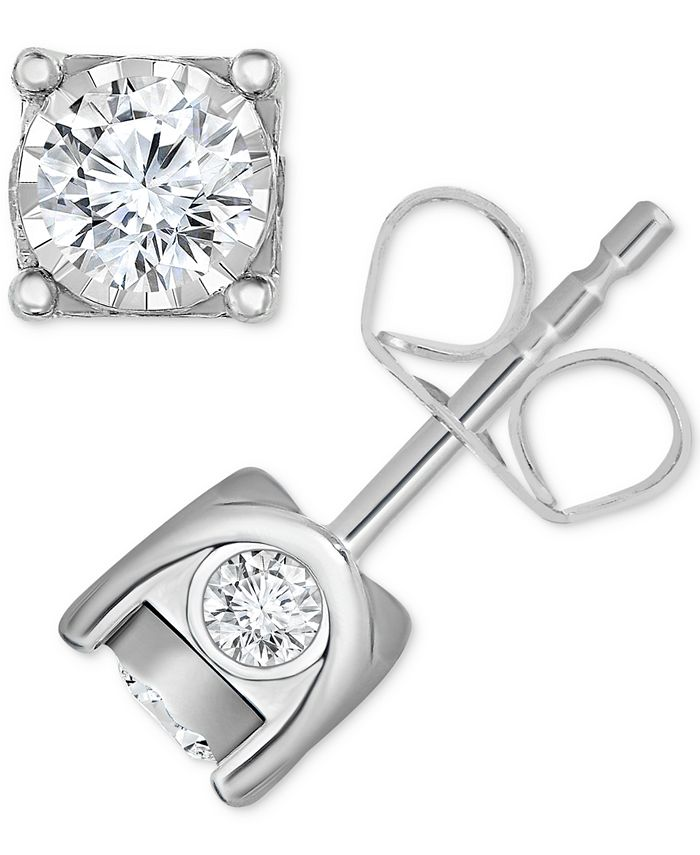 TruMiracle - ® Diamond Stud Earrings in 14k Gold, White Gold or Rose Gold