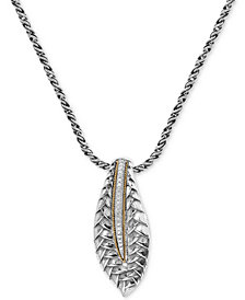 Balissima by EFFY® Diamond Two-Tone Pendant Necklace (1/10 ct. t.w.) in Sterling Silver & 18k Gold