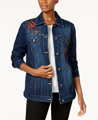 Style & Co Aurora Embroidered Denim Jacket, Created for Macy's