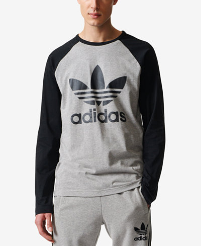 Adidas originals men 39 s trefoil long sleeve t shirt men for Adidas long sleeve t shirt with trefoil logo