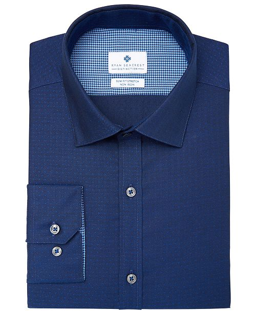 Men's Slim-Fit Stretch Non-Iron Performance Pin Dot Dress Shirt, Created for Macy's