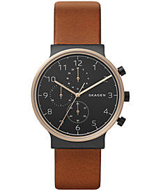 Skagen Men's Chronograph Ancher Brown Leather Strap Watch 40mm