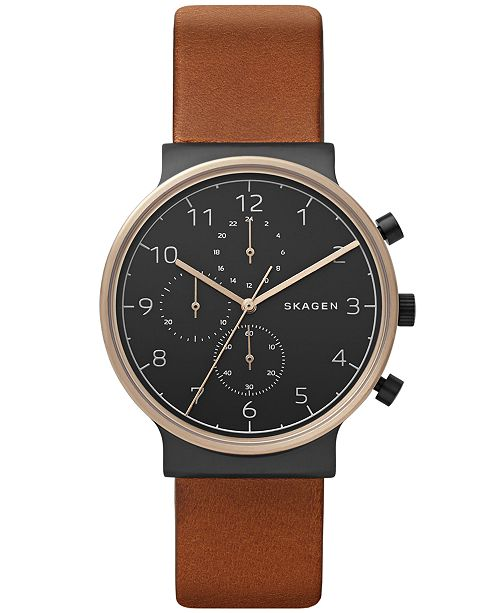 575bb324d Skagen Men's Chronograph Ancher Brown Leather Strap Watch 40mm ...