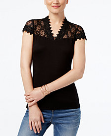 I.N.C. Petite Lace-Yoke Top, Created for Macy's