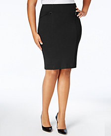 Alfani Plus Size Ponte Pencil Skirt, Created for Macy's