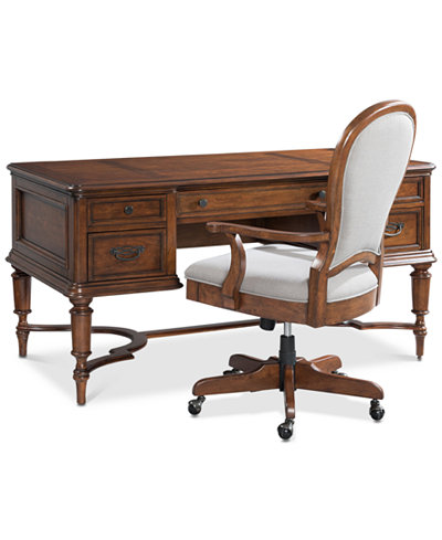 Clinton Hill Cherry Home Office Furniture 2 Pc Set Writing Desk