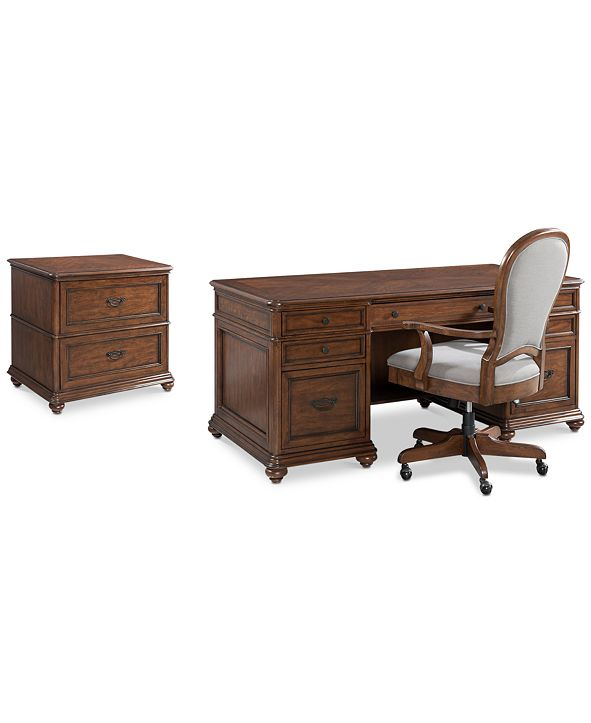 Furniture Clinton Hill Cherry Home Office Furniture, 3-Pc. Set (Executive Desk, Lateral File Cabinet & Upholstered Desk Chair), Created for Macy's