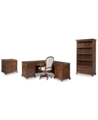 Clinton Hill Cherry Home Office Furniture, 4-Pc. Set (L-Shaped Desk, Lateral File Cabinet, Open Bookcase & Desk Chair), Created for Macy's