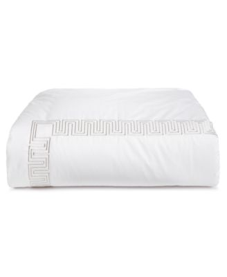 Greek Key Cotton Platinum Twin Duvet Cover, Created for Macy's