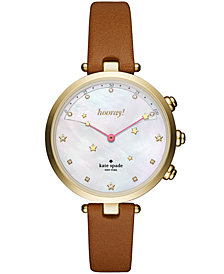 kate spade new york Women's Holland Slim Brown Leather Strap Hybrid Smart Watch 38mm