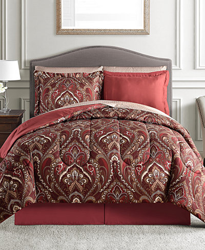 Norfolk Reversible 8 Pc California King Comforter Set Bed In A