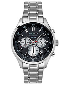 Seiko Men's Chronograph Special Value Stainless Steel Bracelet Watch 43mm