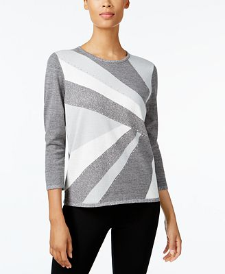 Alfred Dunner Silver Bells Petite Embellished Colorblocked Sweater