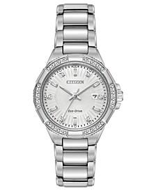 Eco-Drive Women's Diamond Accent Riva Stainless Steel Bracelet Watch 30mm