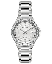 Citizen Eco-Drive Women's Diamond Accent Riva Stainless Steel Bracelet Watch 30mm