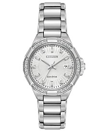 Citizen Eco-Drive Women's Diamond Accent Riva Stainless Steel Bracelet Watch 30mm