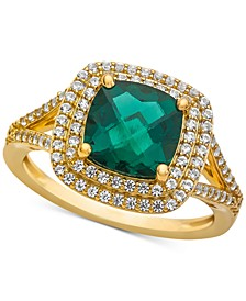 Lab-Created Emerald (1-1/2 ct. t.w.) & White Sapphire (1/2 ct. t.w.) Ring in 14k Gold-Plated Sterling Silver
