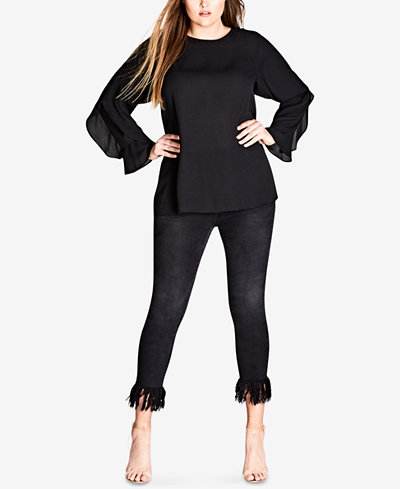 City Chic Trendy Plus Size Flutter-Sleeve Top