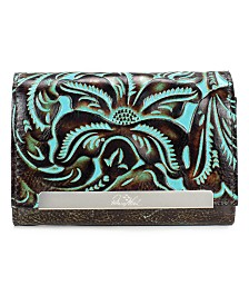 Patricia Nash Cametti Turquoise Tooled Leather Wallet