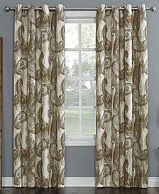 "Sun Zero Presley Paisley Print Woven Linen Texture Curtain Panel, 52"" W x 63"" L"