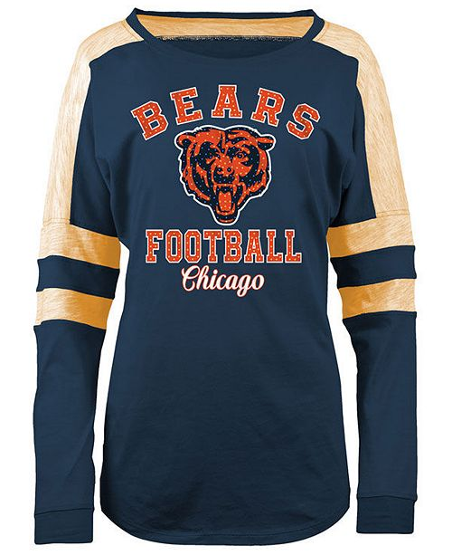 5th & Ocean Women's Chicago Bears Space Dye Long Sleeve T Shirt  for cheap