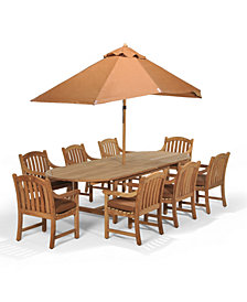 "Bristol Outdoor Teak 9-Pc. Dining Set (87"" x 47"" Dining Table and 8 Dining Chairs),  Created for Macy's"