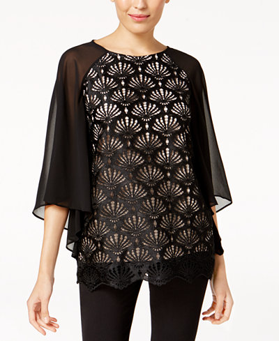 Alfani Crochet-Lace Contrast Top, Created for Macy's