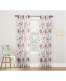 """Bimini Textured Floral Sheer Voile Curtain 51"""" x 84"""" Panel"""