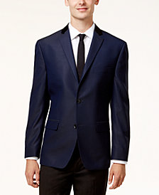 Alfani Men's Slim-Fit Blue & Black Mini-Grid Evening Jacket, Created for Macy's