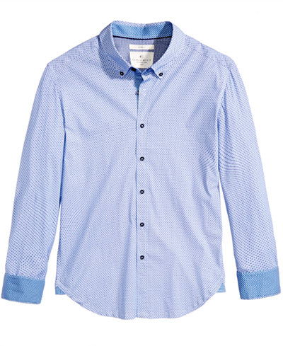 Con.Struct Men's Hybrid Houndstooth Grid Shirt, Created for Macy's