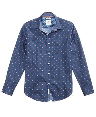 Con.Struct Men's Slim-Fit Fox-Print Shirt, Created for Macy's