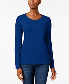 Pima Cotton Long-Sleeve Top, Created for Macy's