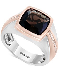 EFFY® Men's Smoky Quartz (4 ct. t.w.) & Diamond (1/10 ct. t.w.) Two-Tone Ring in Sterling Silver & Rose Rhodium-Plate