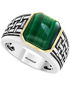 EFFY® Men's Malachite (13 x 11mm) Ring in Sterling Silver and 14k Gold