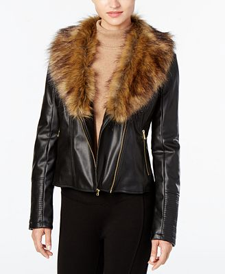 Cole Haan Signature Faux-Fur-Collar Faux-Leather Jacket - Coats ...