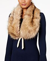 INC International Concepts Faux-Fur & Velvet Bow Stole, Created for Macy's