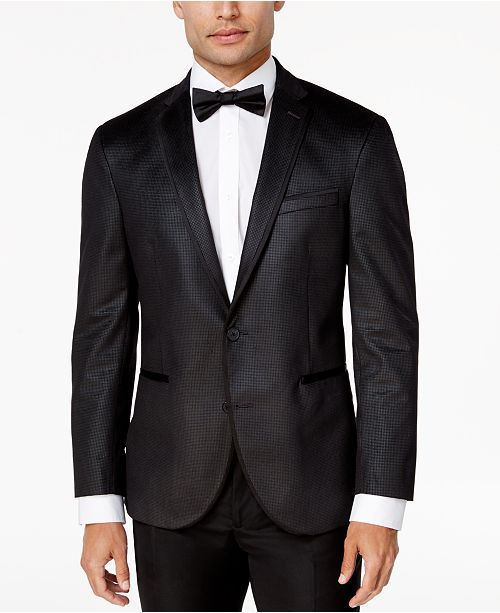 db760bad6e06a2 ... Kenneth Cole Reaction Men's Slim-Fit Charcoal Check Velvet Dinner Jacket  ...