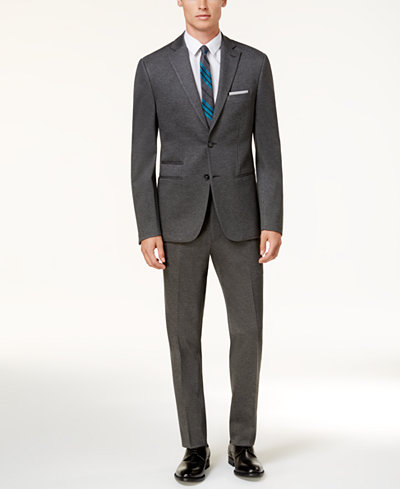 Calvin Klein Men's Slim-Fit Gray Heathered Knit Suit