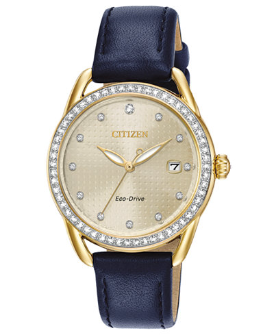 Citizen Drive from Citizen Eco-Drive Women's Blue Leather Strap Watch 37mm