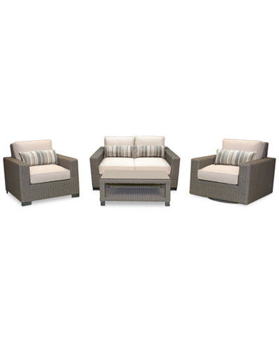 Del Mar 4-Pc. Set (1 Loveseat, 1 Club Chair, 1 Swivel Club Chair & 1 Coffee Table), Created for Macy's