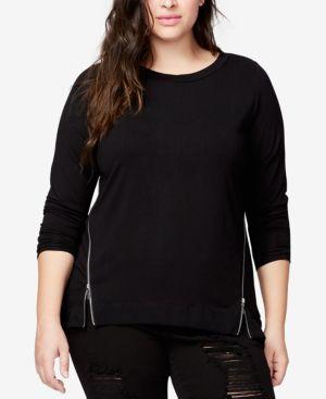 RACHEL RACHEL ROY Trendy Plus Size Side-Zipper Blouse in Black