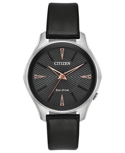 Citizen Eco-Drive Women's Silhouette Black Leather Strap Watch 35mm