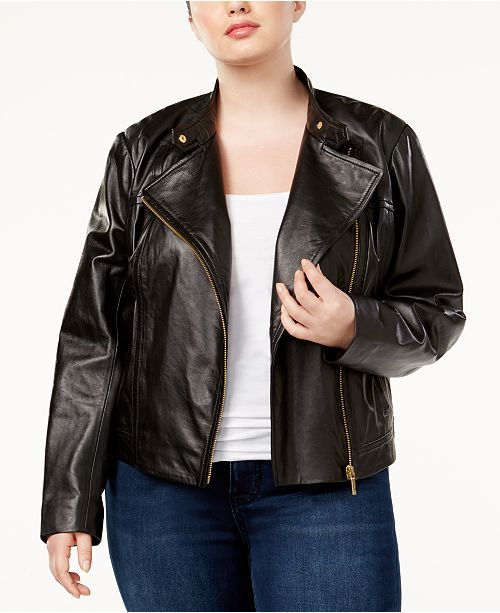 1b9588e1 Michael Kors Plus Size Leather Moto Jacket & Reviews - Jackets ...