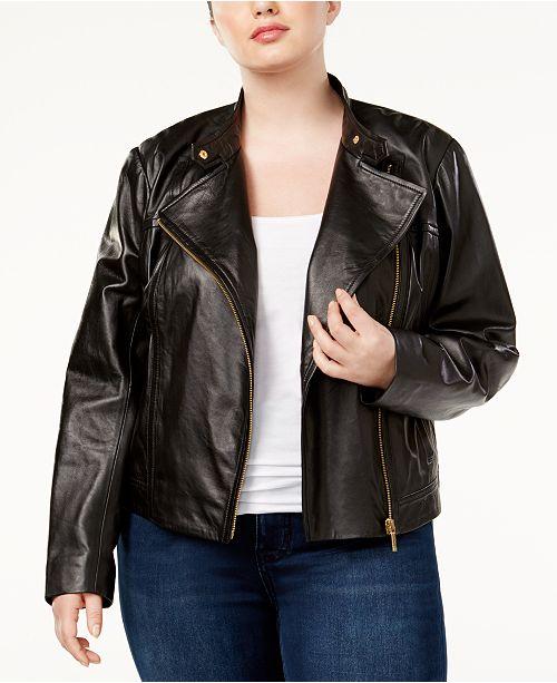 b399da80348 Michael Kors Plus Size Leather Moto Jacket   Reviews - Jackets ...