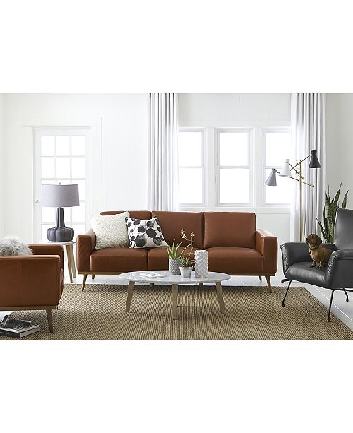 Macys Furniture Clearance: Furniture Marsilla Leather Sofa Collection, Created For