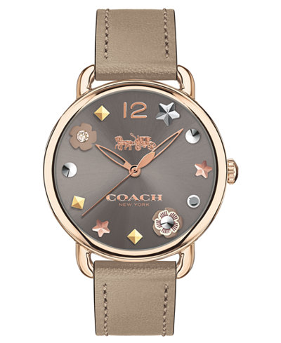 COACH Women's Delancey Gray Leather Strap Watch 36mm