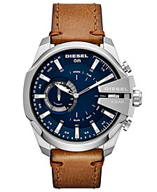 Diesel Men's Mega Chief Brown Leather Strap Hybrid Smart Watch 48mm